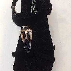 W 6326 - 66 Sort flad sandal med Guldspænde