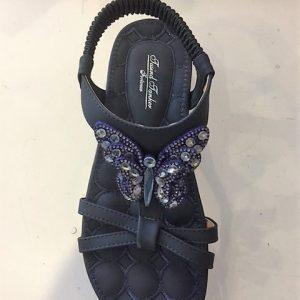 1109-26 Sandal flad i blå med sommerfugl similisten