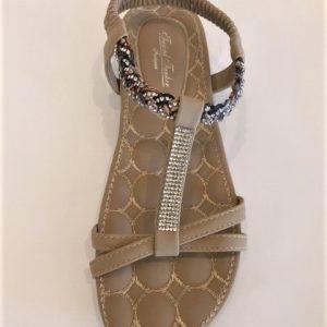 206 - 3 Sandal - flad i Beige med similisten