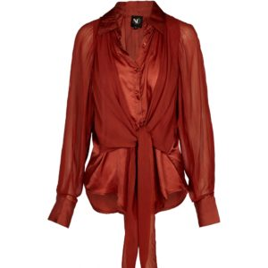 Bluse i rødlige terracotta farver