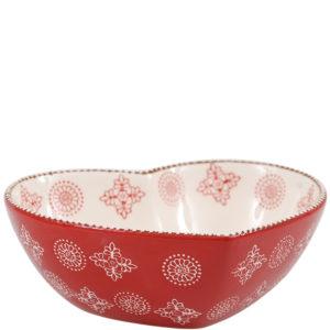 Hjerteskål i rødt keramik