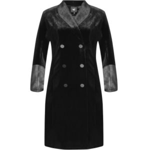 Jakke eller kjole i velour med læder detaljer